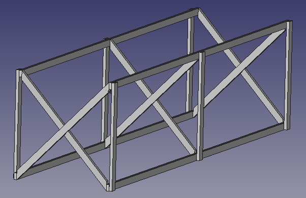 FreeCAD screenshot of how far I got with the structure in around two hours